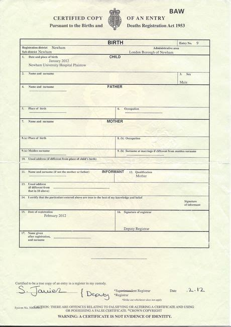 Birth And Marriage Records Uk Birth Certificate Template Uk Choice Image Certificate Design And Template