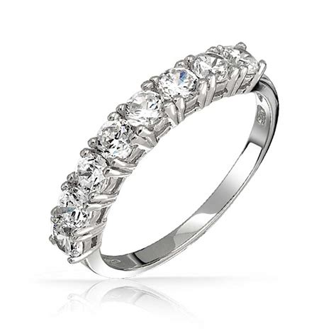 925 sterling silver half eternity ring wedding band cz