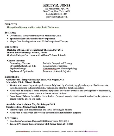 occupational therapist resume template occupational therapy resume templates http