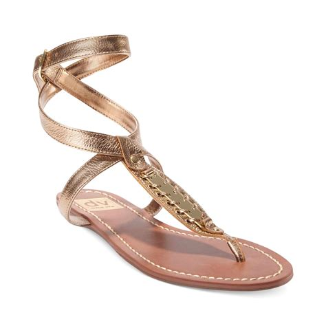 dolce vita flat sandals dolce vita dv by adryna flat sandals in gold lyst