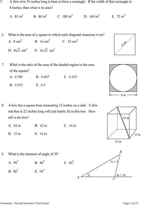 Sandia High School Geometry Second Semester Final Exam