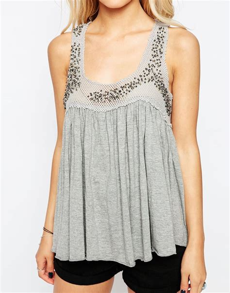 grey swing top hazel embellished swing vest top in gray lyst