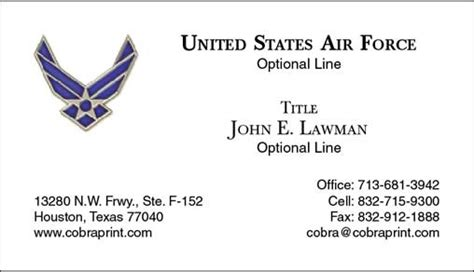 Air Business Card Template by Cobra Printing Productions Usaf Business Cards