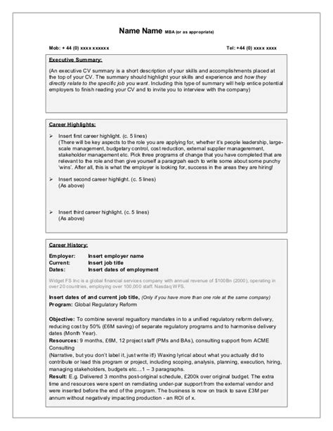 free template for the world s best change management cv
