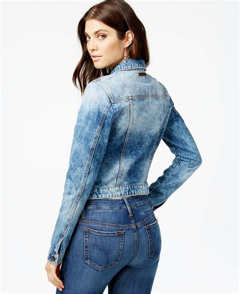 Light Guess Ripped guess ripped denim jacket in blue lyst