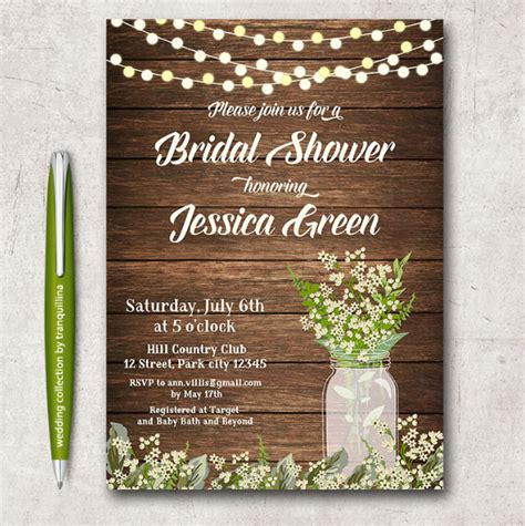 bridal shower template rustic bridal shower invitations jar rustic