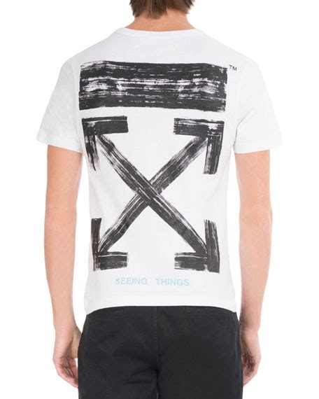 White T Shirt Arrow by White Brushed Diagonal Arrows Cotton T Shirt