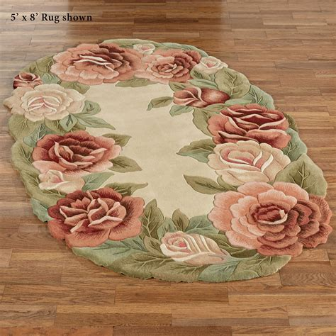 rugs with roses on them garland sculpted floral oval rugs