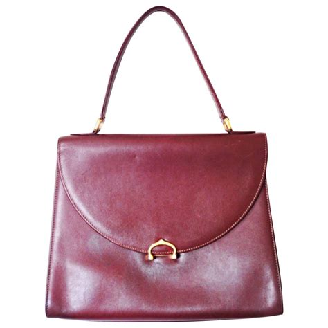 Top Must Handbags by Vintage Cartier Style Wine Leather Handbag Les Must
