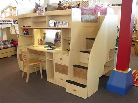 build  loft bed  desk   brown