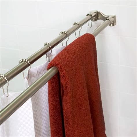 diy double curtain rod 72 straight double shower curtain rod hardware pinterest