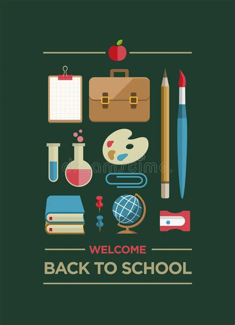 school supplies icon set back welcome back to school poster stock vector image 42917269