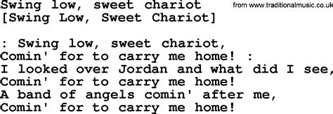 swing low lyrics american song lyrics for swing low sweet chariot