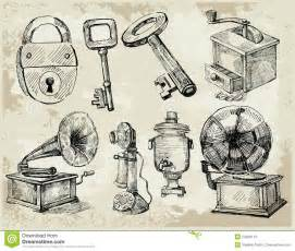 set of hand drawn antique things stock photos image