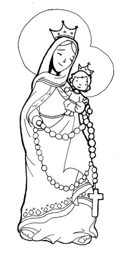 imagenes de la virgen faciles para dibujar para colorear dibujos de la virgen del rosario