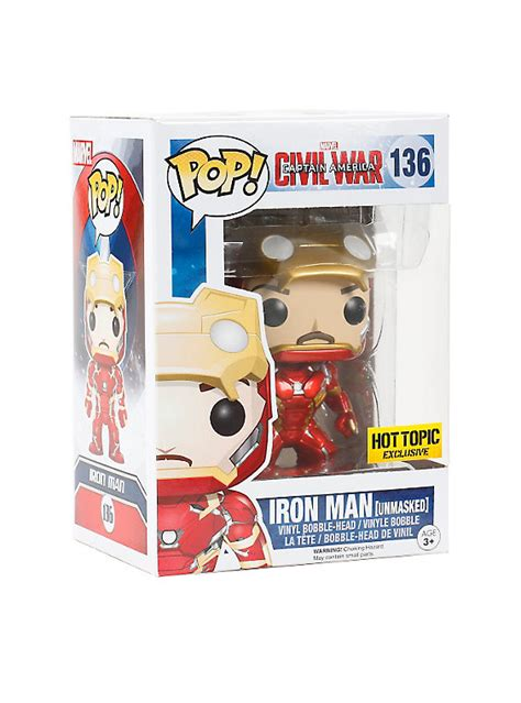 Funko Iron Civil War funko marvel captain america civil war pop iron unmasked vinyl bobble topic