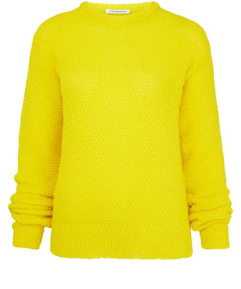 yellow knitted jumper j w yellow crew neck textured knit jumper in