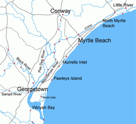 and south carolina beaches map grand strand sc vacations myrtle sc area vacation