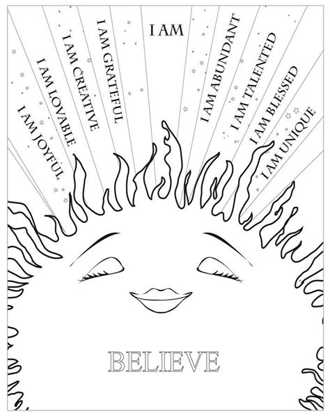 self love coloring pages i am sunshine affirmations coloring sheet click pic to