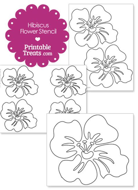 printable hibiscus flowers printable hibiscus flower stencil from printabletreats com