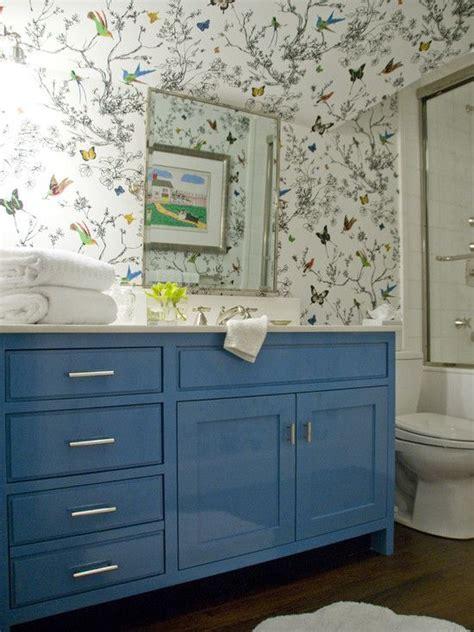 blue bathroom wallpaper schumacher birds and butterflies wallpaper and glossy blue