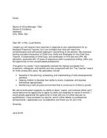assistant pre teacher cover letter