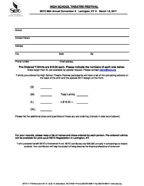 High School Theatre Festival T Shirt Order Form Setc Youth Football Bylaws Template
