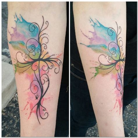 watercolor tattoos cross watercolors crosses and cross tattoos on