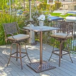 Outdoor Bistro Table Set Bar Height Outdoor Patio Furniture 3pcs Cast Aluminum Bar Height Bistro Set W Cushions Ebay
