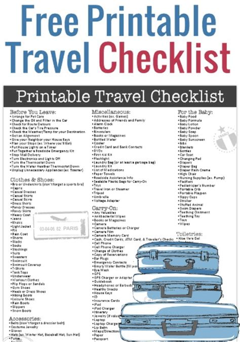 printable travel checklist for family free printable travel checklist from freebie finding mom