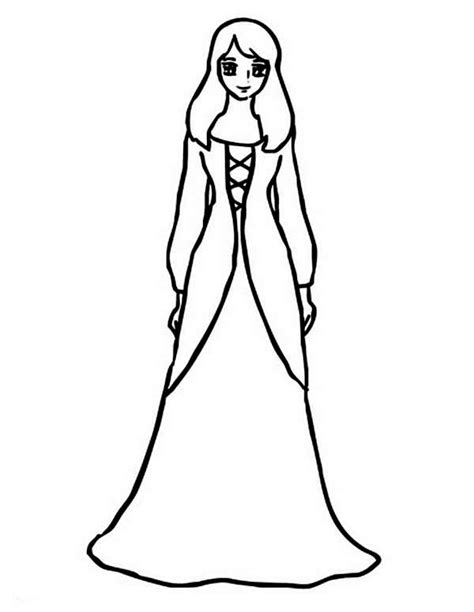 coloring page girl in dress long dress coloring pages page fancy for garden party