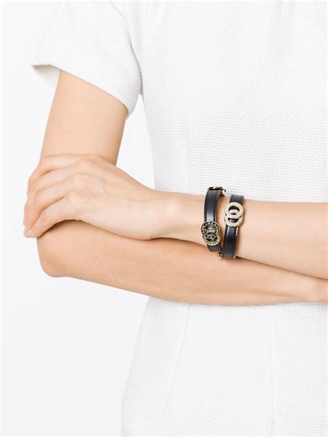Bangle Bvlgari Black Dots Chain Gold Bangle lyst bvlgari coiled bracelet in black