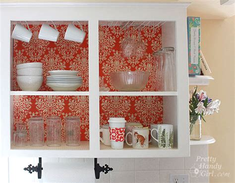 Liners For Kitchen Cabinets fabric backed open kitchen cabinets diy on a dime the