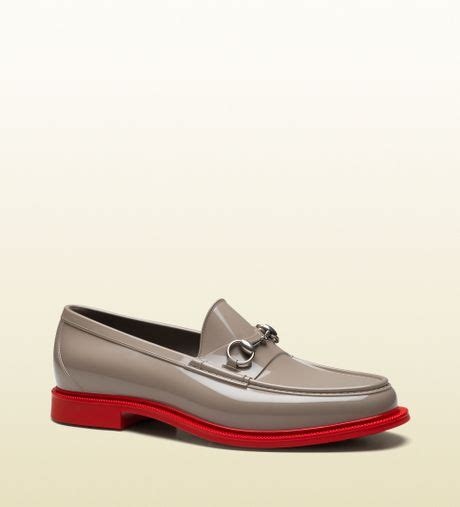 gucci rubber horsebit loafer gucci rubber horsebit loafer in gray for grey lyst