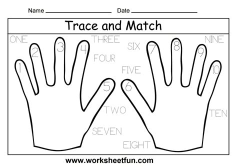Tracing Numbers 1 10 Worksheets Kindergarten by With Number Words 1 10 Coloring Pages