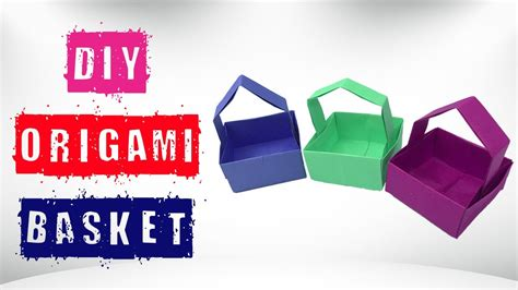 Origami Basket With Handle - easy simple origami basket how to make paper basket