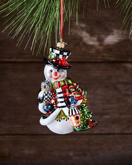 mackenzie childs snowman mackenzie childs woodland snowman glass ornament neiman
