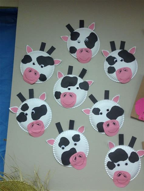 Paper Animal Crafts - paper plate cow craft farm animals week for classroom