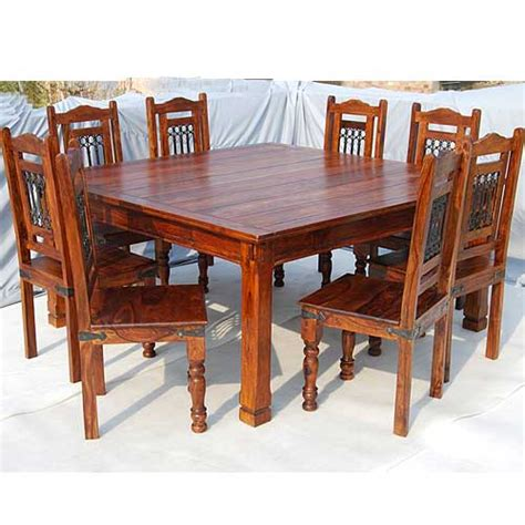 Square Kitchen Table With 8 Chairs Solid Wood 9pc Square Kitchen Dining Room Table 8 Seater Chair Furniture Ebay