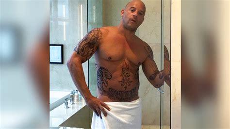 vin diesel enloquece con una foto en toalla y sin camisa