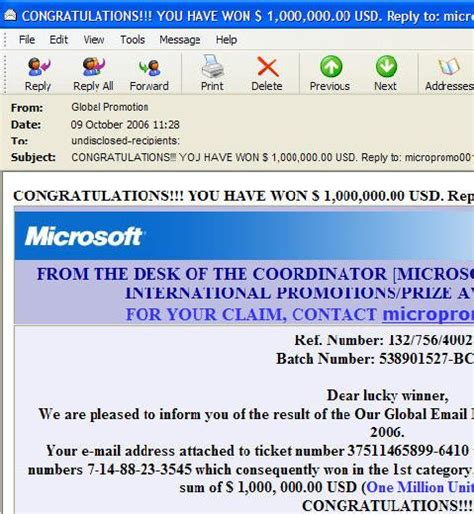 microsoft global email lottery scam spam