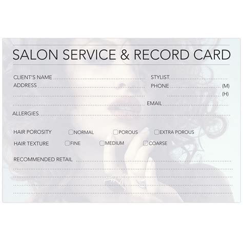 hairdressing client record card template dateline professional hairdressing record cards home