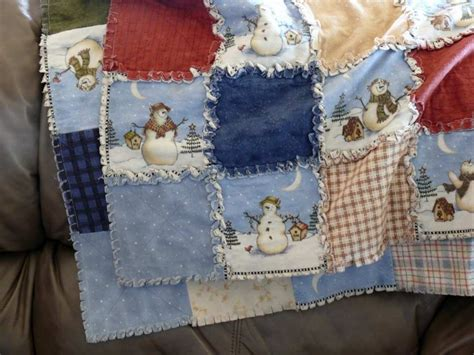 Snowman Rag Quilt Pattern by A Winter Snowman Flannel Rag Quilt Made By Jan
