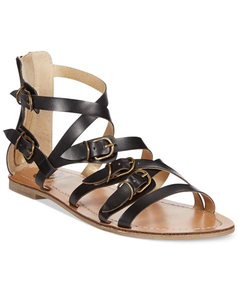 black flat strappy shoes lyst g by guess s harris strappy flat sandals in black