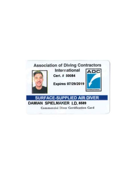 dive card adci commercial dive card