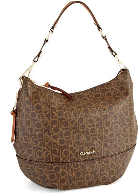 calvin klein hudson monogram hobo bag  brown lyst