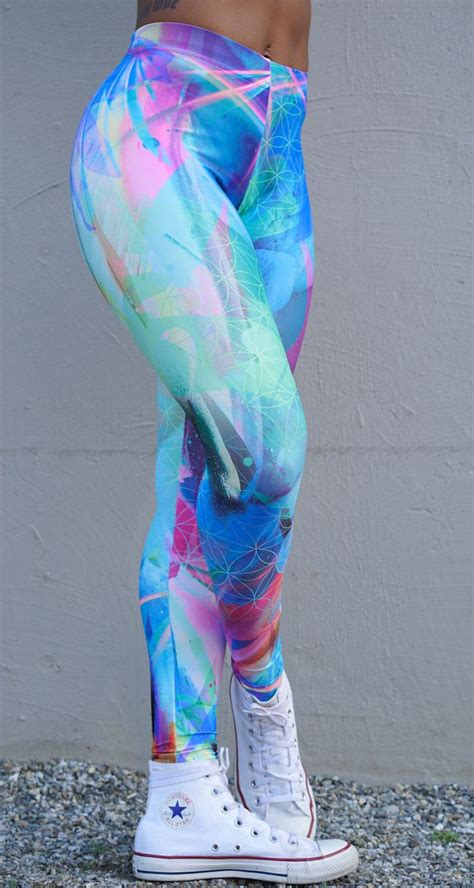 bright patterned leggings life in color leggings festival leggings rave clothing