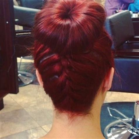 red braids in a bun cherry red braid bun hairstyles and beauty tips all