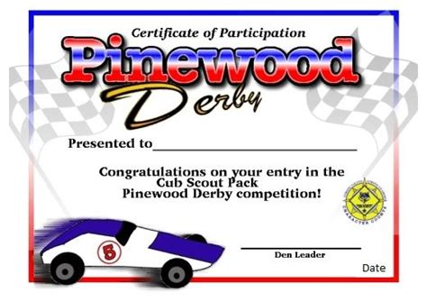 pinewood derby certificate templates 151 best cub scout derby pinewood images on