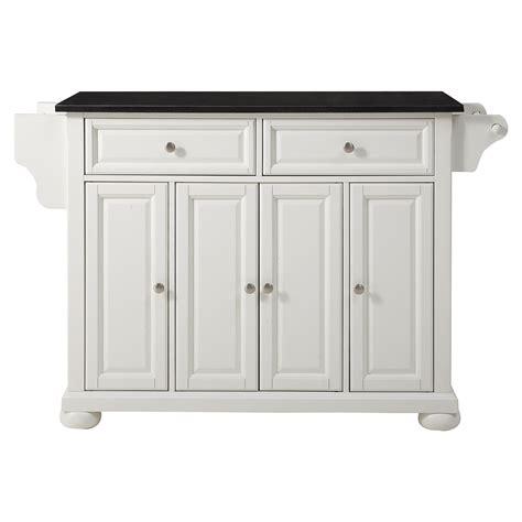 alexandria solid black granite top kitchen island white